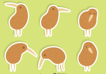 Cute Kiwi Bird Vector Set - Free vector #414405