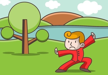 Illustration Of Wushu Fighter While Training - vector gratuit #414545