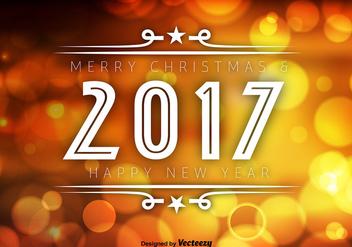 2017 Happy New Year Orange Bokeh Vector Background - Kostenloses vector #414675