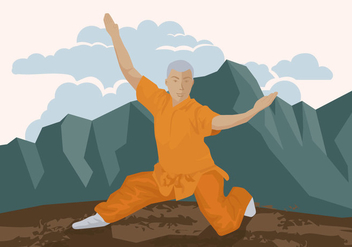 Man Doing Wushu - Kostenloses vector #414725