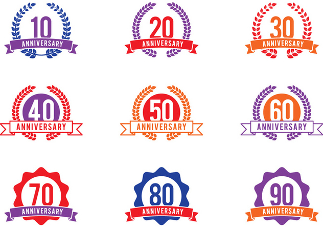 Anniversary Celebration Emblems - Free vector #414885