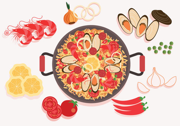 Paella Ingredients Vector - vector gratuit #415515