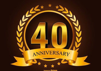 Beautiful 40th Anniversary Illustration - vector gratuit #415825