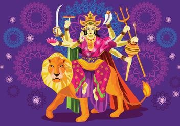 Vector Illustration of Goddess Durga in Subho Bijoya - Kostenloses vector #415905