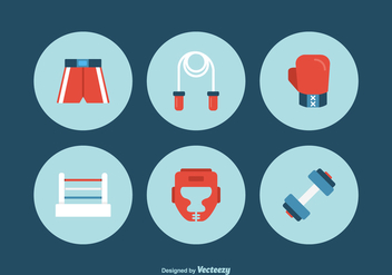 Free Flat Boxing Vector Icons - Free vector #416225