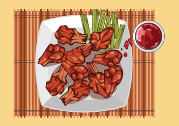 Buffalo Wings with Sauce on the Table Top View - Kostenloses vector #416325