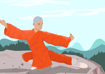 Man Doing Wushu - vector gratuit #416655