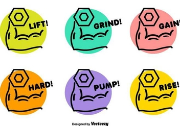 Dumbell Lifting Vector Badges - Free vector #416865