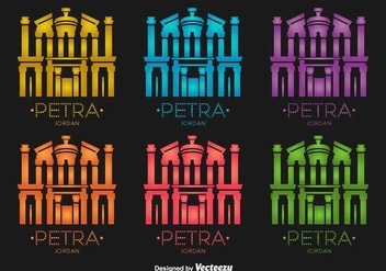 Petra Jordan Building Vector Icons - Free vector #416905
