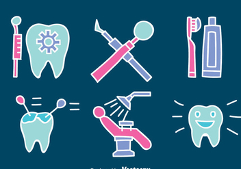 Hand Drawn Dentist ELement Vector Set - Free vector #417335