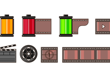 Set Of Film Canister Icons - vector #417535 gratis