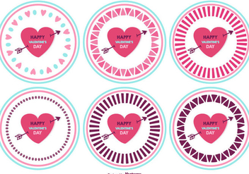 Cute Valentine's Day Badges - Kostenloses vector #417805