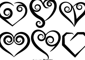Collection Of Vector Hand Drawn Hearts - vector gratuit #417915