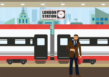 TGV station business man waiting train vector illustration - vector #418185 gratis