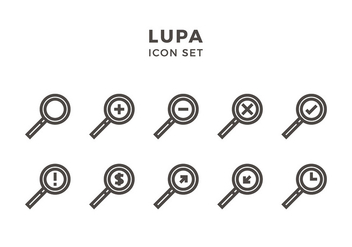 Lupa Icon Set Free Vector - vector #418195 gratis