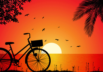 Bicicleta Beach Sunset Free Vector - бесплатный vector #418315
