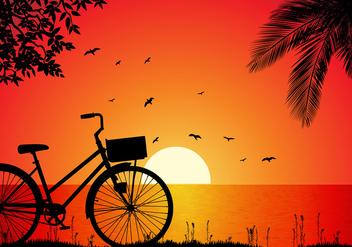 Bicicleta Beach Sunset Free Vector - Kostenloses vector #418315