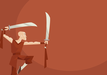 Shaolin Monk Performing Wushu With Two Sword Vector - Free vector #418355