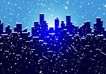 Silhouette Of City In Snow - Free vector #418795