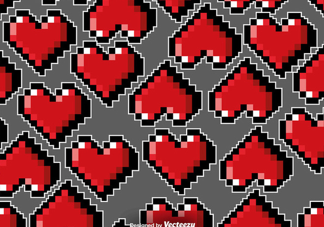 Vector Pixelated Hearts Seamless Pattern - Free vector #419295