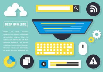 Free Flat Media Marketing Vector Elements - Kostenloses vector #419345