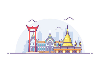 Free Bangkok Cityscape Illustration - Free vector #419535