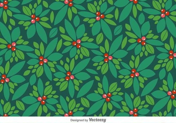 Vector Christmas Pattern Of Holly Berry - Free vector #419935