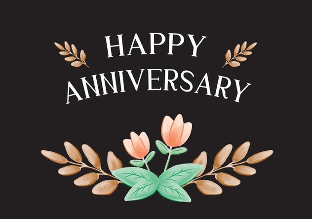Peach Flower Anniversary Card - Free vector #420275