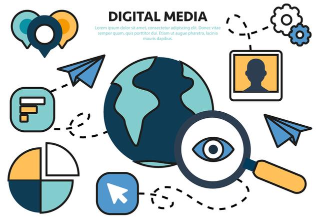 Free Flat Digital Marketing Concept Vector - Free vector #420575