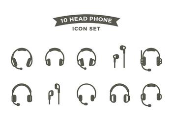 Head Phone Line Icon Set Free Vector - Free vector #420635