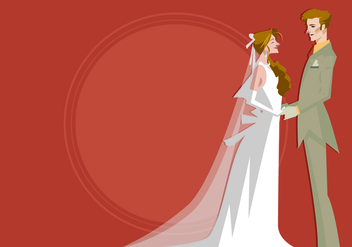 Bride and Groom Standing Together Vector - vector gratuit #420775