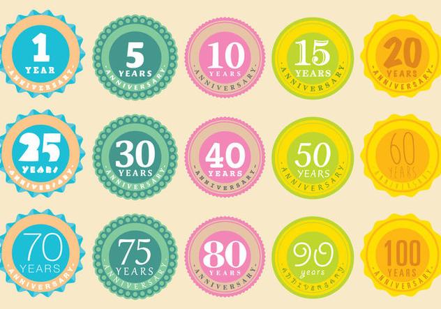 Anniversary Badge Vectors - бесплатный vector #420895
