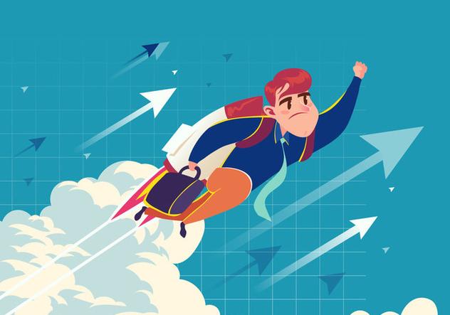 Super Businessman Flying Vector - Free vector #421015