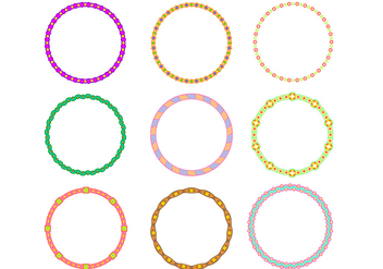 Cute Circle Border Funky Frames Free Vector - Free vector #421025