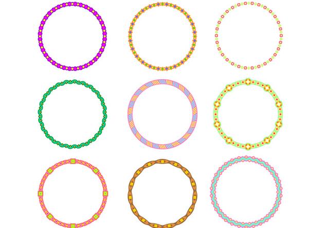 Cute Circle Border Funky Frames Free Vector - бесплатный vector #421025