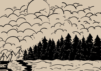 Sketchy Forest Outdoor Landscape Vector - Free vector #421115