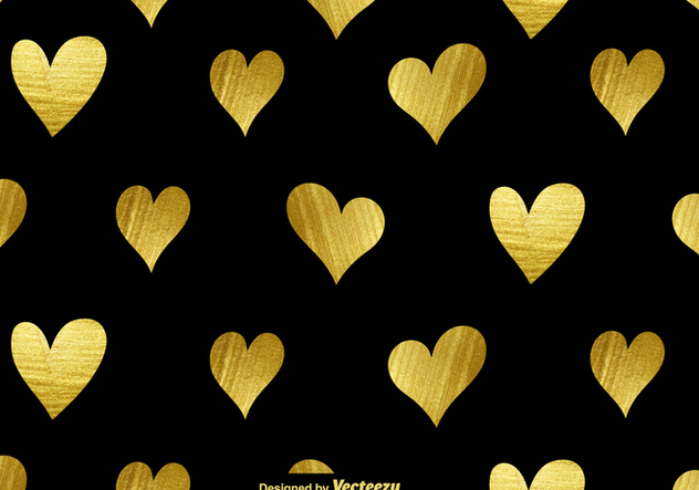 Vector Golden Hearts Seamless Pattern - Free vector #421145