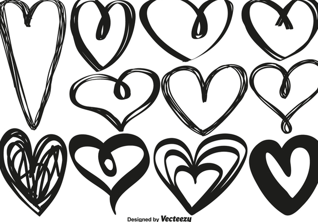 Vector Hand Drawn Hearts - Kostenloses vector #421435