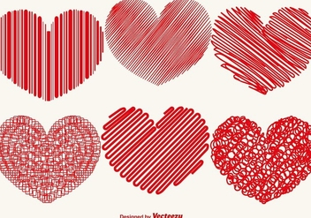 Vector Collection Of Abstract Hearts - vector gratuit #421455