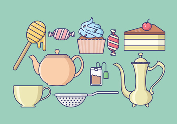 Tea Time Icons Collection - vector #421675 gratis