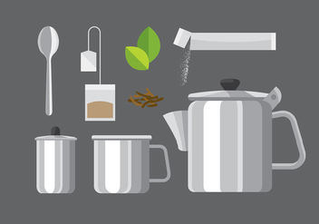 Teapot Set Steel Vector - бесплатный vector #421715