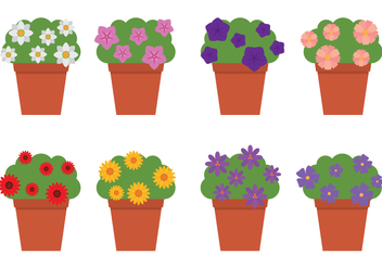 Outdoor Flowers In Flowerpots - Free vector #421785