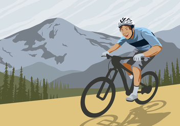 Bike Trail on a Mountain Vector - Free vector #421805