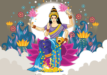 Goddess Lakshmi Cool Colors Vector - Free vector #421825