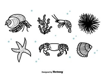 Sea Life Set Vector - Free vector #422825