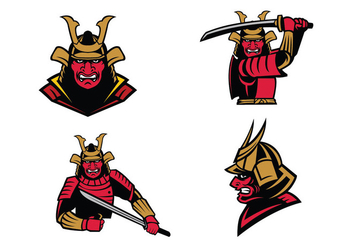 Free Samurai Warrior Mascot Vector - Kostenloses vector #422935