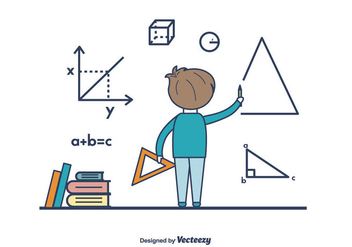 Boy Doing Math Vector - Free vector #422955