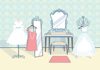 Vintage Bridal Dressing Room Vector - Kostenloses vector #423245