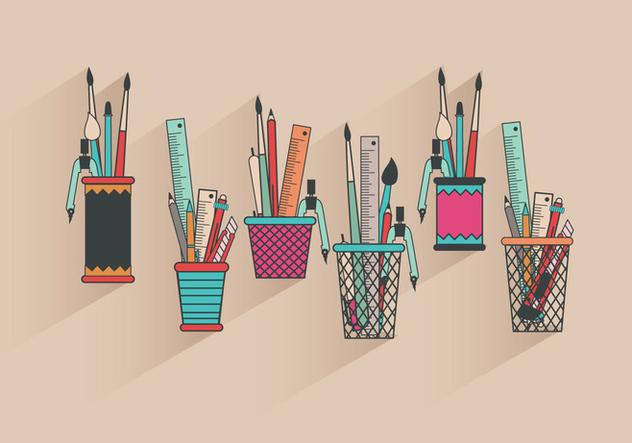 Fun Colorful Pen Holder Vectors - vector gratuit #423275