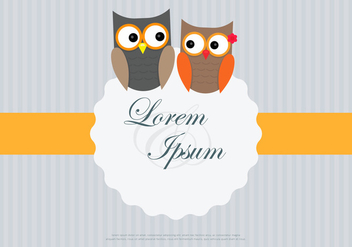 Owl Couple Loving Card Template Vector - Free vector #423315